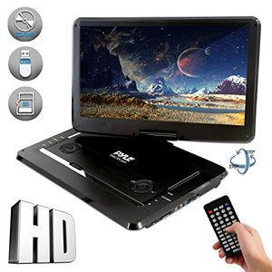 "Pyle 17.9"" Portable DVD Player, With 15.6 Inch Swivel Adjustable Display Screen, USB/SD Card Memory Readers, Long Lasting Built-in Rechargeable Battery, Stereo Sound  with Remote. (PDV156BK) 15"" Black"