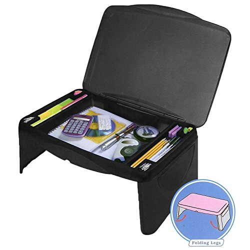 Mavo Craft Folding Lap Desk, Laptop Desk, Breakfast Table, Bed Table, Serving Tray - The lapdesk Contains Extra Storage Space and dividers & Folds Very Easy, Great for Kids, Adults, Boys, Girls, (Black) SYNCHKG120751