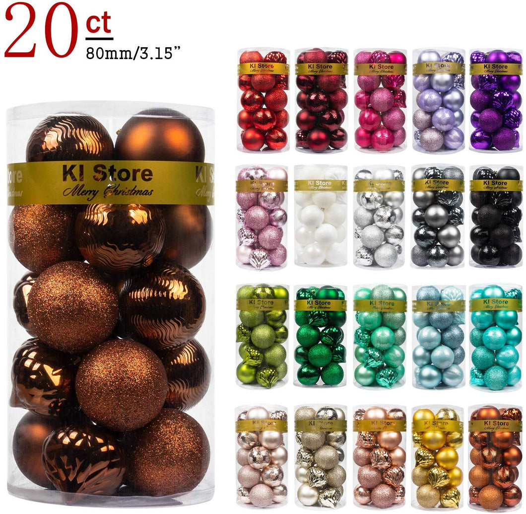 KI Store Christmas Balls Shatterproof Christmas Tree Ornaments Decorations for Xmas Trees Wedding Party Home Decor (3.15