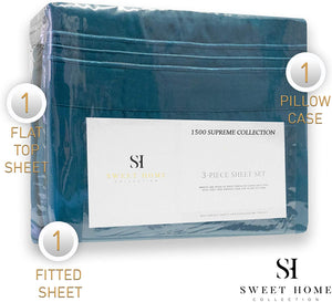 1500 Supreme Collection Extra Soft Twin Sheets Set, Teal - Luxury Bed Sheets Set with Deep Pocket Wrinkle Free Hypoallergenic Bedding, Over 40 Colors, Twin Size, Teal