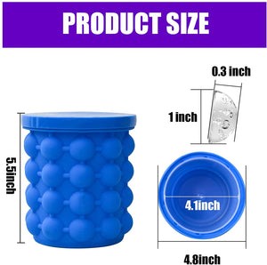 ALLADINBOX Ice Cube Mold Ice Trays, Large Silicone Ice Bucket, (2 in 1) Ice...