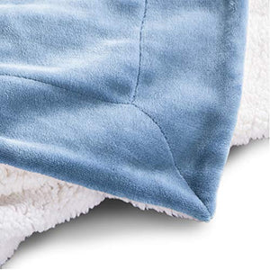 Bedsure Sherpa Fleece Blanket Throw Size Slate Blue Plush Throw Blanket Fuzzy Soft Blanket Microfiber