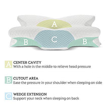 Load image into Gallery viewer, Coisum Back Sleeper Cervical Pillow - Memory Foam Pillow for Neck and Shoulder Pain Relief - Orthopedic Contour Ergonomic Pillow for Neck Support with Breathable Cover MFP001-Wht 21.65x15.75x4.33 inches White