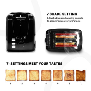 Toasts 2 Slice Toasts Best Rated Prime Evenly And Quickly Stainless Steel Black Bagel Toaster With 2 Wide Slots 7 Shade Settings and Removable Crumb Tray for Bread Waffles