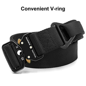 Fairwin Tactical Rigger Belt, Nylon Webbing Waist Belt with V-ring Heavy-Duty Quick-Release Buckle S(Waist 30''-36''Width 1.5'') Black