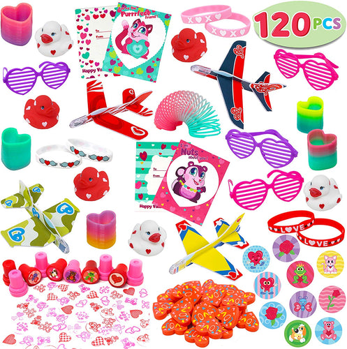 JOYIN 120+Pcs Happy Valentines Day Party Favor Supplies Set includes Heart Glasses, Bracelet, bookmark Perfect for Kids, Preschool Decorations, Photo Props, Wedding, Baby Shower, and School Classroom Prizes.
