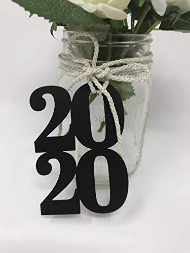 Bella Party Store 2020 cutout - glitter Paper Die Cut, 2020 glitter decorations, Graduation party - class of 20- Graduation party Decor- 12ct