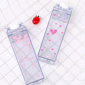 GUSENG Carton Sakura-Print Strawberry-Print Sports Drinking Clear Cup Water Bottle Milk Storage For Home School Office Multicolor