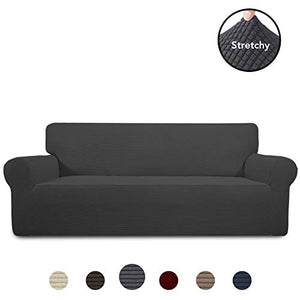 PureFit Stretch Sofa Slipcover – Spandex Jacquard Non Slip Soft Couch Sofa Cover, Washable Furniture Protector with Non Skid Foam and Elastic Bottom for Kids (Sofa, Dark Gray) Large