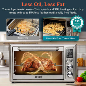 COSORI 12-in-1 Oven Air Fryer Combo, Convection Toaster with Dehydrator & Rotisserie, 100 Online Recipes & 6 Accessories Included, 30L, Silver