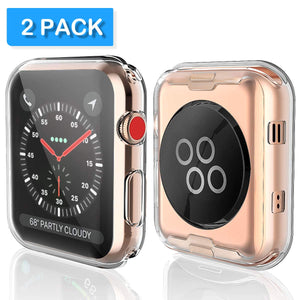 Julk Series 3 42mm Case for Apple Watch Screen Protector, iWatch Overall Protective Case TPU HD Clear Ultra-Thin Cover for Apple Watch Series 3 (42mm)(2-Pack)