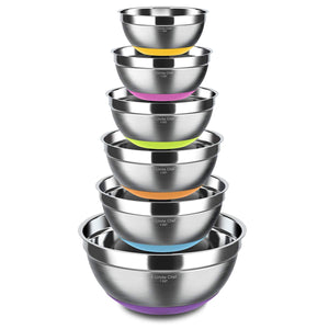 Stainless Steel Mixing Bowls Set of 6, Non Slip Colorful Silicone Bottom Nesting Storage Bowls by Umite Chef, Polished Mirror Finish For Healthy Meal Mixing and Beating (1,1.5, 2.0, 2.5, 3.5, 7 QT)