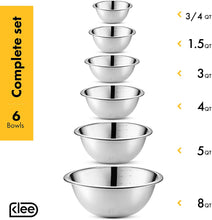 Load image into Gallery viewer, Klee 6-Piece Premium Stainless Steel Mixing Bowls with Laser Etched Measuring Lines (Set of 6)