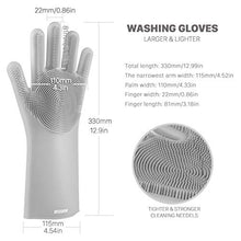 Load image into Gallery viewer, anzoee Reusable Silicone Dishwashing Gloves, Pair of Rubber Scrubbing Gloves for Dishes, Wash Cleaning Gloves with Sponge Scrubbers for Washing Kitchen, Bathroom, Car & More (Gray) 8541813512