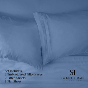 1500 Supreme Collection Extra Soft Split King Sheets Set, Denim - Luxury Bed Sheets Set with Deep Pocket Wrinkle Free Hypoallergenic Bedding, Over 40 Colors, Split King Size, Denim