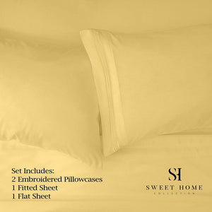 1500 Supreme Collection Bed Sheets Set - Premium Peach Skin Soft Luxury 4 Piece Bed Sheet Set, Since 2012 - Deep Pocket Wrinkle Free Hypoallergenic Bedding - Over 40+ Colors - King, Yellow
