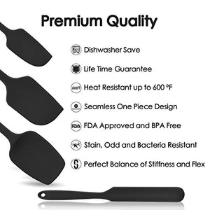 U-Taste 600ºF High Heat-Resistant Premium Silicone Spatula Set, BPA-Free One Piece Seamless Design, Non-Stick Rubber with 18/8 Stainless Steel Core, Cooking/Baking Utensil Set of 4(Black) PremiumSpatula-Black
