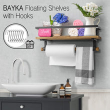 Load image into Gallery viewer, BAYKA Floating Shelf Wall Mounted, Rustic Wood Shelf for Bathroom Kitchen, Decor Storage Shelf with 8 Removable Hooks and Towel Bar