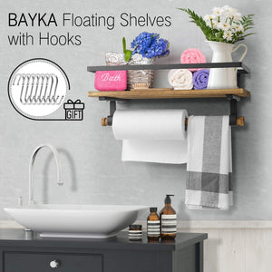 BAYKA Floating Shelf Wall Mounted, Rustic Wood Shelf for Bathroom Kitchen, Decor Storage Shelf with 8 Removable Hooks and Towel Bar