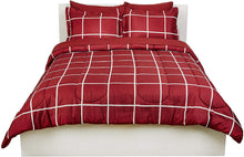 Load image into Gallery viewer, Basics 7-Piece Bed-In-A-Bag, Full / Queen Bedding Comforter Sheet Set, Burgundy Simple Plaid, Microfiber, Ultra-Soft