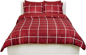 Basics 7-Piece Bed-In-A-Bag, Full / Queen Bedding Comforter Sheet Set, Burgundy Simple Plaid, Microfiber, Ultra-Soft