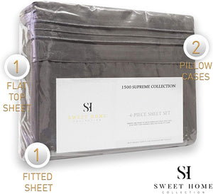 1500 Supreme Collection Extra Soft Queen Sheets Set, Gray - Luxury Bed Sheets Set with Deep Pocket Wrinkle Free Hypoallergenic Bedding, Over 40 Colors, Queen Size, Gray