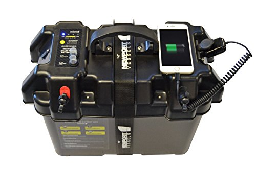 Newport Vessels Trolling Motor Smart Battery Box Power Center with USB and DC Ports 23M1000401 black