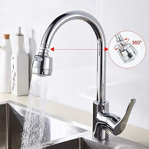 WAISSGURT Kitchen Faucet Aerator Sink Tap Sprayer Head -360 Degree Rotatable ABS Anti-Splash Faucet Sprayer Head Replacement - Sink Nozzle Attachment with 2 Modes 3.3x1.75x1 inch Silver