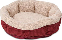 "Load image into Gallery viewer, Petmate Aspen Pet Self-Warming Corduroy Pet Bed Several Shapes Assorted Colors 80135 19.5"" Barn Red/Cream"