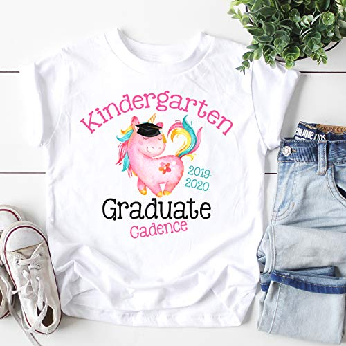 SweetTeez LLC Kindergarten Graduation Shirt Personalized tshirt Graduate Gift Unicorn Outfit Girls Shirt Size White