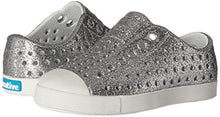 Load image into Gallery viewer, Native Shoes Native Kids Girls' Jefferson Bling Child-K Slip-On,Silver Bling Glitter/Shell White,C4 M US Toddler Jefferson Bling Child - K 4 Toddler