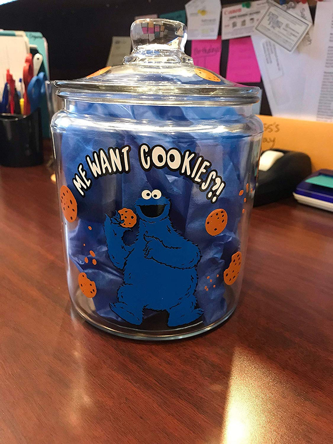 Cookie Jar Vinyl Decal DIY cookie jar decor comes with Cookie Monster, writing, cookies and crumbs decal only
