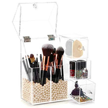 Load image into Gallery viewer, hblife Makeup Brush Holder, Acrylic Makeup Organizer with 2 Brush Holders and 3 Drawers Dustproof Box with Free Beige Pearl