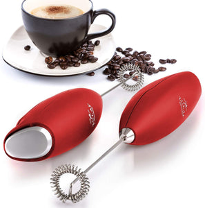 Zulay High Powered Milk Frother Handheld Foam Maker for Lattes with Stand - Great Electric Whisk Drink Mixer and Foam Frother for Bulletproof® Coffee, Mini Blender and Foamer Perfect for Cappuccino, Frappe, Matcha, Hot Chocolate, Almond Milk by Milk Boss - Ruby Red