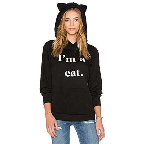 Germinate Cat Ear Black Hoodies Women Pullover Pocket Pouch Aesthetic Cute Graphic Hooded Sweatshirts Sweaters Plus Size Oversized (Black, S) WY07 Small