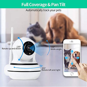 AIIYME Dog Camera, Pet Camera with Interactive Laser Toy Wireless Baby Monitor FHD 1080P WiFi Enabled Cat Camera 360° Indoor Security Camera 160°Wide Angle 2-Way Audio Night Vision Sound Motion Alert for Pet White