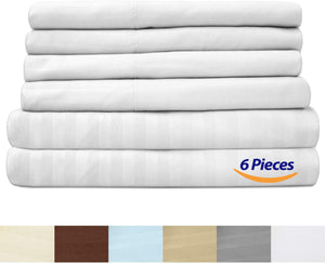 Full Size Bed Sheets - 6 Piece 1500 Thread Count Fine Brushed Microfiber Deep Pocket Full Sheet Set Bedding - 2 Extra Pillow Cases, Great Value, Full, Dobby White