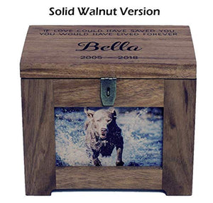 Cades and Birch Personalized Pet Memory Box/Urn with Name and Quote or Poem - Memorial Photo Frame Chest Picture Keepsake Urn - Dog, Cat, Lizard, Bird Medium Walnut Stain Grey Stain