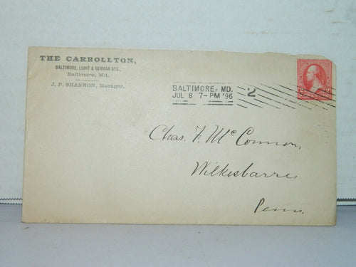 VERY RARE 1890'S GEORGE WASHINGTON 2 CENT RED STAMP on Envelope, Bal, Md
