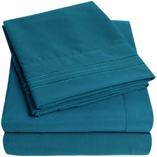 Load image into Gallery viewer, 1500 Supreme Collection Extra Soft Twin Sheets Set, Teal - Luxury Bed Sheets Set with Deep Pocket Wrinkle Free Hypoallergenic Bedding, Over 40 Colors, Twin Size, Teal