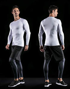 ATHLIO Men's Cool Dry Compression Long Sleeve Baselayer Athletic Sports T-Shirts Tops, 3pack Round Neck(bls01) - Black/Charcoal/White, Large 3pack Round Neck(bls01) - Black/ Charcoal/ White