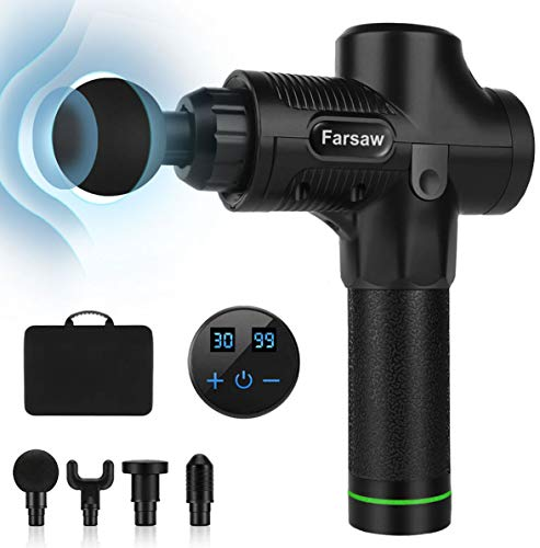 Massage Gun, Farsaw Deep Tissue Percussion Massager with 6 Heads, 30 Speeds Adjustable, 10 Hours Runtime, LED Display, Carrying Case