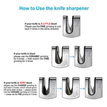 Load image into Gallery viewer, AIYEGO Knife Sharpener, Portable 3-Stage Manual Kitchen Sharpening Tool Repair, Restore and Polish Blades