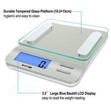 Load image into Gallery viewer, Accuweight 207 Digital Kitchen Multifunction Food Scale for Cooking with Large Back-lit LCD Display,Easy to Clean with Precision Measuring,Tempered Glass (Silver)