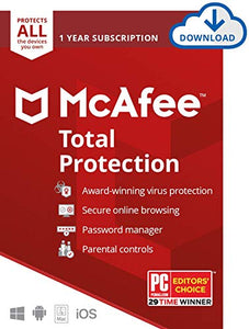 McAfee Total Protection, Unlimited Devices, Antivirus Software, 1 Year Subscription-[Download Code]- 2020 Ready