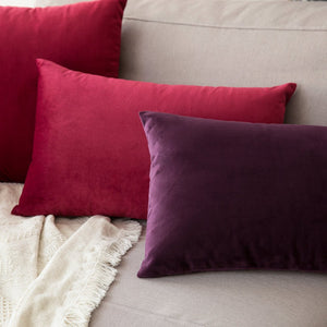 MIULEE Pack of 2, Velvet Soft Soild Decorative Square Throw Pillow Covers Set Cushion Case for Sofa Bedroom Car 12 x 20 Inch 30 x 50 cm Wine Red