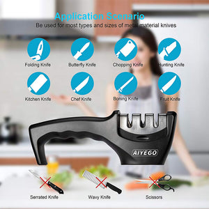 AIYEGO Knife Sharpener, Portable 3-Stage Manual Kitchen Sharpening Tool Repair, Restore and Polish Blades