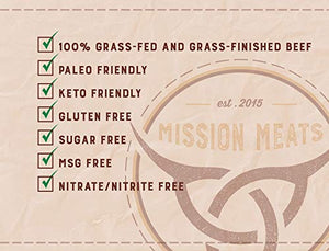 Mission Meats Keto Sugar Free Grass-Fed Beef Snacks Sticks Non-GMO Gluten Free MSG Free Nitrate Nitrite Free Paleo Healthy Natural Meat Sticks 48 Count