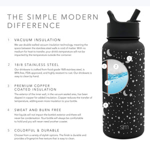 Simple Modern 40 oz Summit Water Bottle with Straw Lid - Gifts for Men & Women Hydro Vacuum Insulated Tumbler Flask Double Wall Liter - 18/8 Stainless Steel Engraved: Lunar