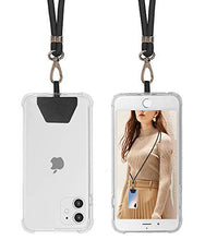 Load image into Gallery viewer, SS Phone Lanyard, Cell Phone Lanyard with Adjustable Detachable Neckstrap and Phone Tether, Phone Strap Compatible with All Smartphones-Black